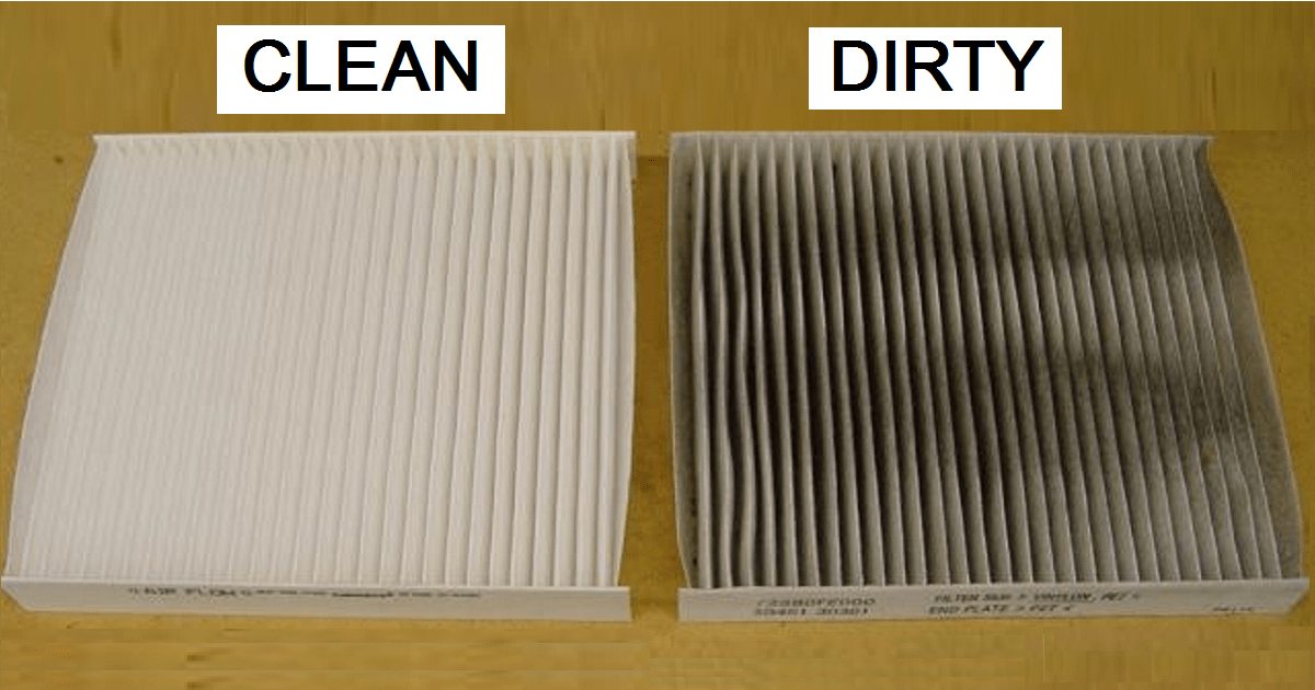 View of Clean versus Dirty Home Air Filter
